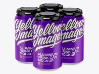 Pack of 4 Matte Cans with Plastic Holder Mockup - Half Side View