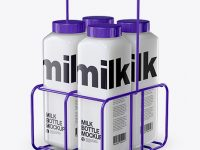 Milk Bottles Mockup - Half Side View (High Angle Shot)