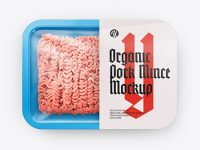 Plastic Tray With Pork Mince Mockup - Top View