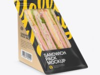 Kraft Sandwich Pack Mockup - Half Side View