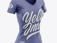 Women's Heather Slim-Fit V-Neck T-Shirt Mockup - Front Half-Side View