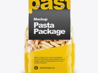 Pennette Rigate Pasta with Paper Label Mockup - Front View