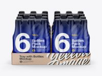 Kraft Tray with 6 Bottles Packs Mockup - Front View (High-Angle Shot)