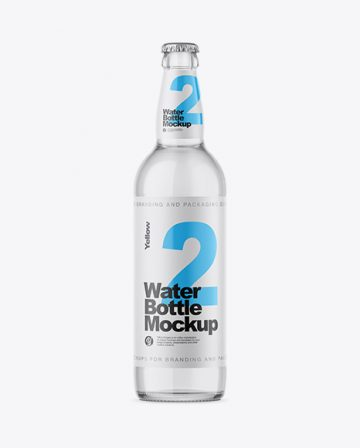 Clear Glass Bottle With Water Mockup
