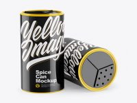 Two Glossy Spice Cans Mockup