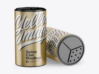 Two Metallic Spice Cans Mockup