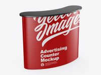 Matte Advertising Counter Mockup - Half Side View (High-Angle Shot)