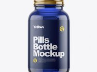 Blue Glass Bottle With Pills Mockup