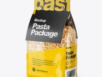 Ruote Pasta with Paper Label Mockup - Half Side View
