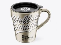 Metallic Mug w/ Cap Mockup - Front View (High-Angle Shot)