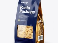 Paper Bag with Pennette Rigate Pasta Mockup - Half Side View
