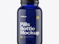 Dark Blue Glass Bottle With Pills Mockup