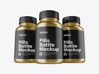 Three Metallic Pills Bottles Mockup - Front View (Hero Shot)