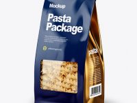Paper Bag with Fusilli Pasta Mockup - Half Side View