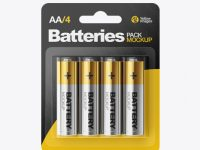 4 Pack Metallic Battery AA Mockup