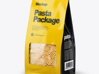 Paper Bag with Spighe Pasta Mockup - Half Side View