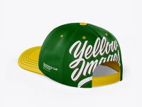 Snapback Cap Mockup - Back Half Side View