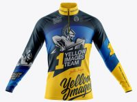 Men's Cycling Jersey With Long Sleeve Mockup - Front View