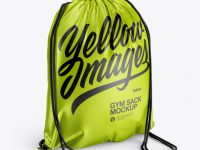 Glossy Gym Sack Mockup - Back Half Side View