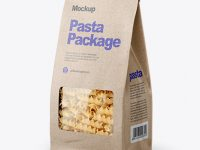 Kraft Bag with Fusilli Pasta Mockup - Half Side View