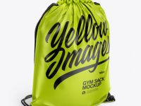 Glossy Gym Sack Mockup - Front Half Side View