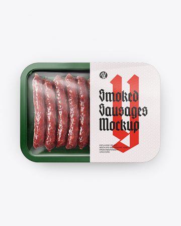 Plastic Tray With Smoked Sausages Mockup - Top View