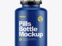 Matte Pills Bottle With Shrink Sleeve Mockup
