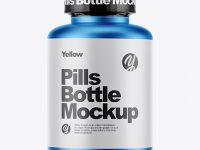 Matte Metallic Pills Bottle With Shrink Sleeve Mockup