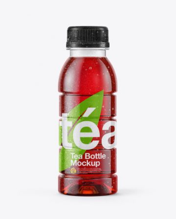 10oz Tea Bottle in Shrink Sleeve with Condensation Mockup - Front View