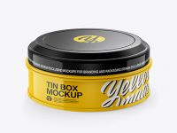 Glossy Round Tin Box Mockup - Front View (High-Angle Shot)