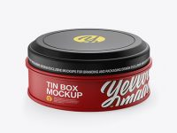Matte Round Tin Box Mockup - Front View (High-Angle Shot)