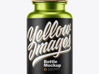 Metallized Plastic Pills Bottle Mockup