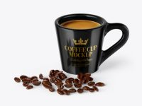 Glossy Coffee Cup With Coffee Beans Mockup