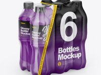 Transparent Shrink Pack with 6 Plastic Glossy Bottles Mockup - Half Side View
