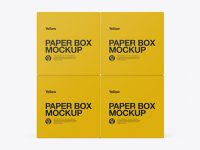 Four Paper Boxes Mockup - Side View