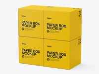 Four Paper Boxes Mockup - Half Side View