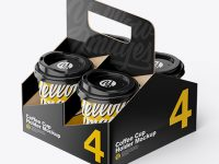 Glossy Coffee Cup Holder W/ Glossy Cups Mockup