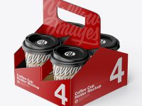 Matte Coffee Cup Holder W/ Kraft Cups Mockup