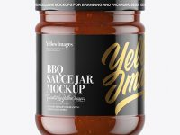 Clear Glass BBQ Sauce Jar Mockup