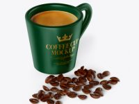 Matte Coffee Cup With Coffee Beans Mockup