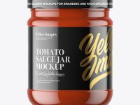 Clear Glass Tomato Sauce Jar Mockup