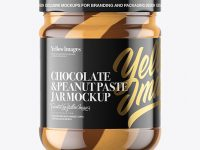 Clear Glass Jar with Duo Chocolate Spread Mockup
