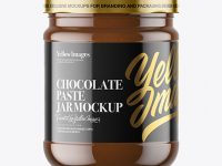 Clear Glass Jar with Chocolate Paste Mockup