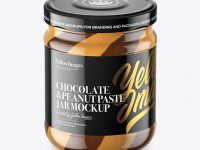 Clear Glass Jar with Duo Chocolate Spread Jar Mockup