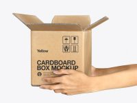 Opened Cardboard Box with Hands Mockup