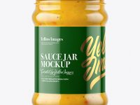 Clear Glass Curry Sauce Jar Mockup