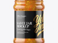 Clear Glass Sweet & Sour Sauce Jar Mockup