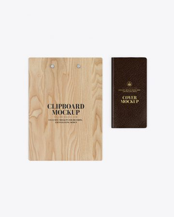 Wooden Clipboard With Leather Cover Mockup
