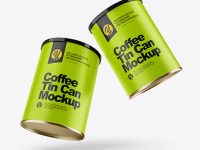 Two Matte Coffee Tin Cans Mockup