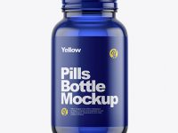 Empty Blue Glass Pills Bottle Mockup